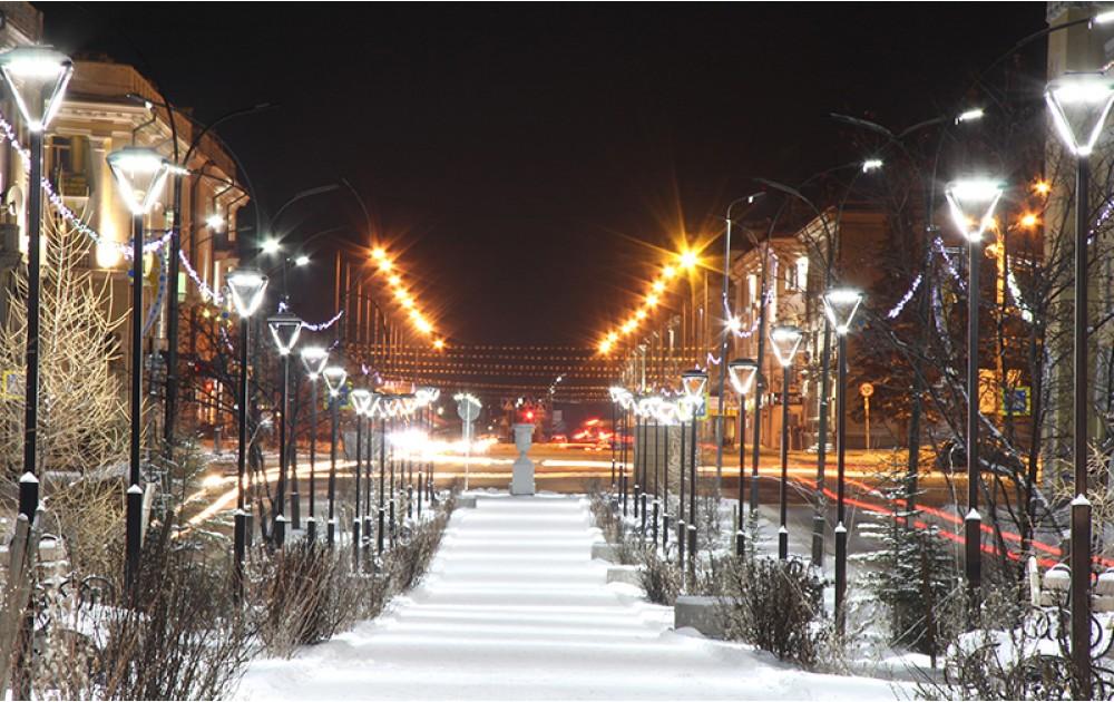 Освещение пешеходных аллей на центральных улицах Ангарска